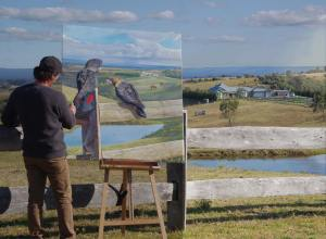 Garry onsite putting the finishing touches to a commission work.