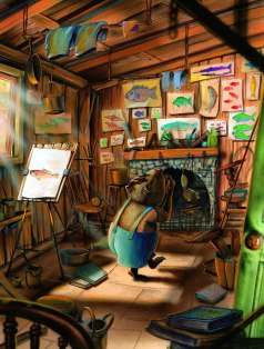 Wombat looking at all of Platypus's fish paintings